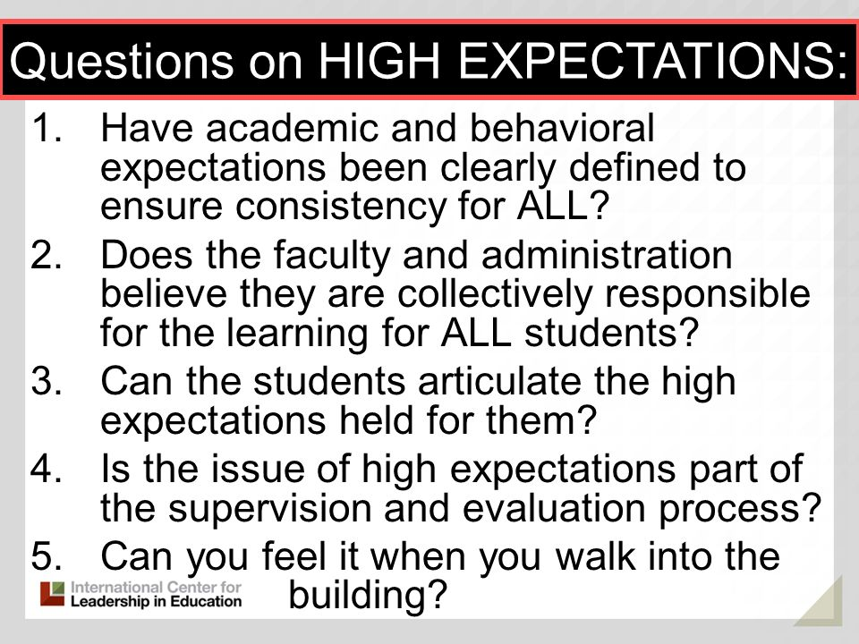 Questions on HIGH EXPECTATIONS: