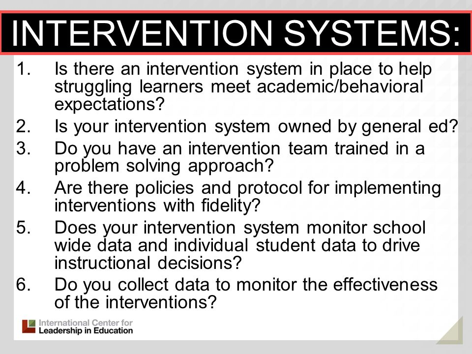 INTERVENTION SYSTEMS: