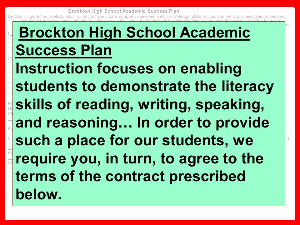 Brockton High School Academic Success Plan