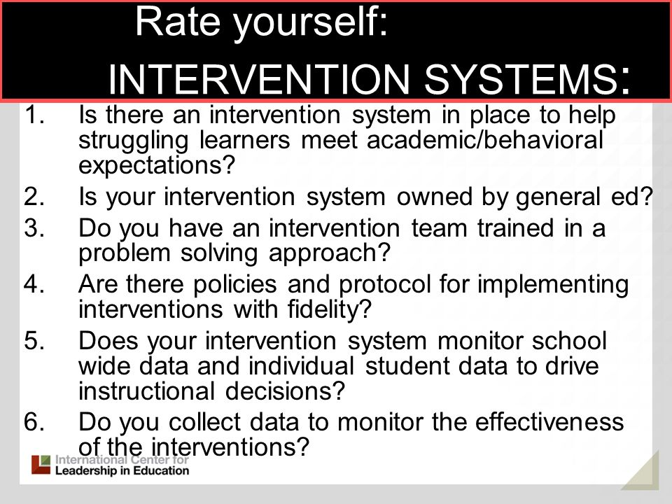 Rate yourself: INTERVENTION SYSTEMS: