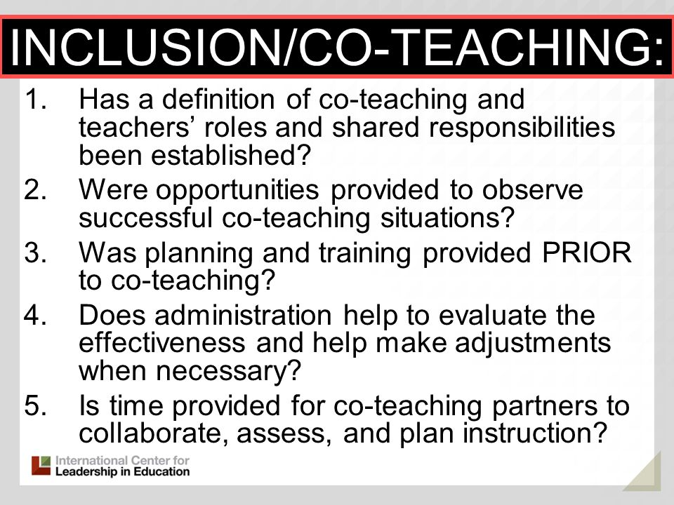 INCLUSION/CO-TEACHING: