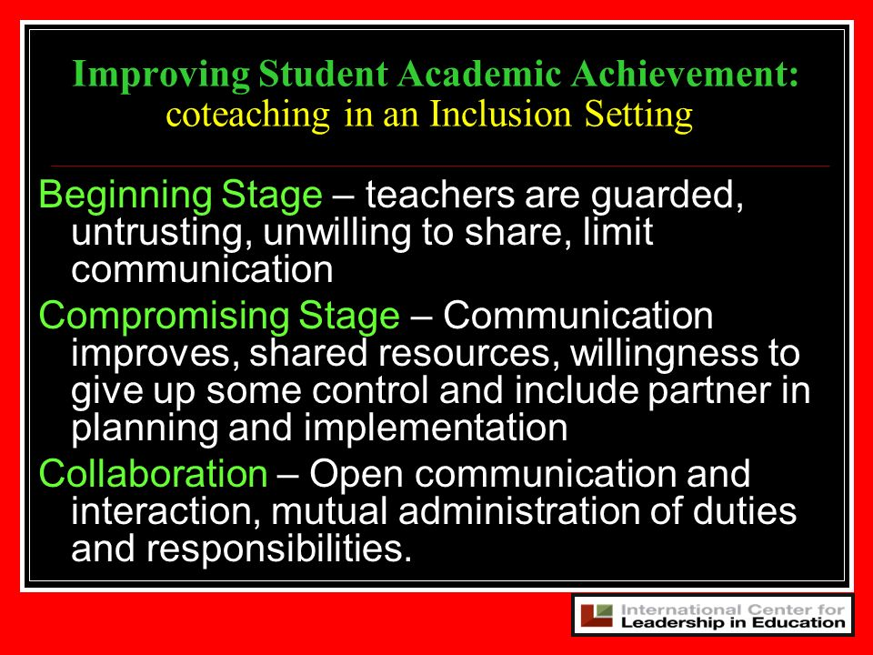 Improving Student Academic Achievement: coteaching in an Inclusion Setting
