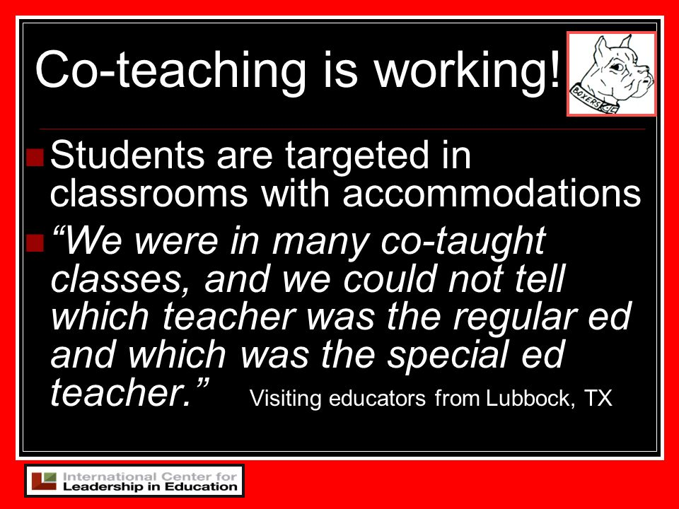 Co-teaching is working!