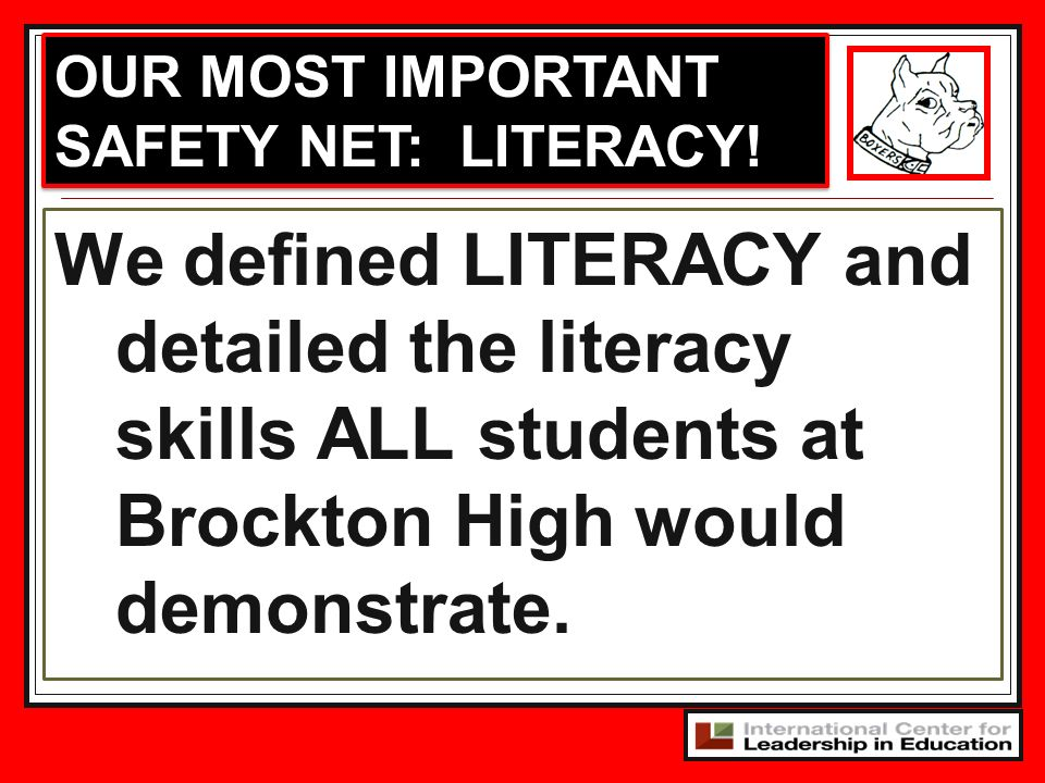 OUR MOST IMPORTANT SAFETY NET: LITERACY!