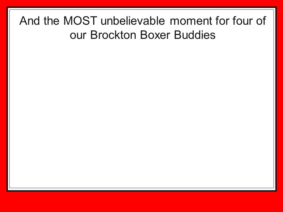 And the MOST unbelievable moment for four of our Brockton Boxer Buddies