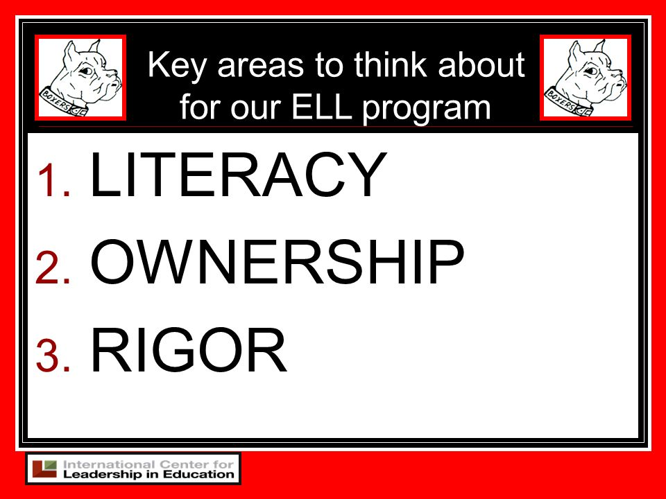 Key areas to think about for our ELL program
