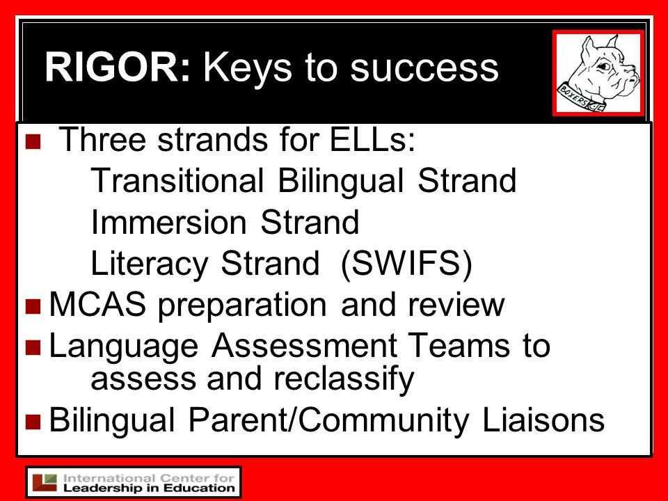 RIGOR: Keys to success Three strands for ELLs:
