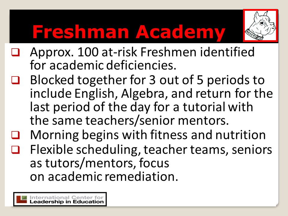 Approx. 100 at-risk Freshmen identified for academic deficiencies.