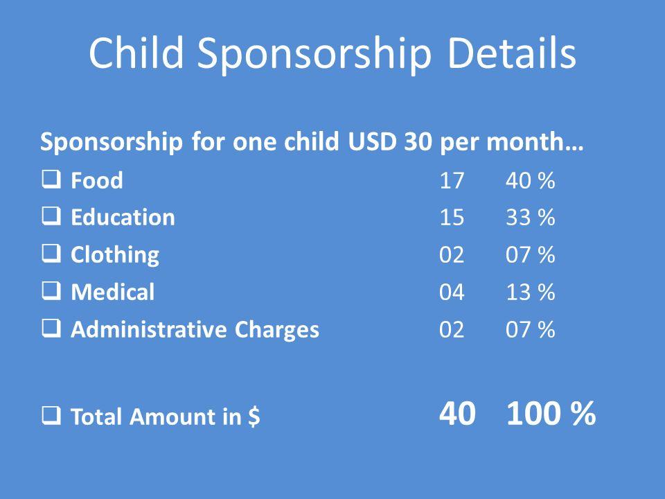 Child Sponsorship Details