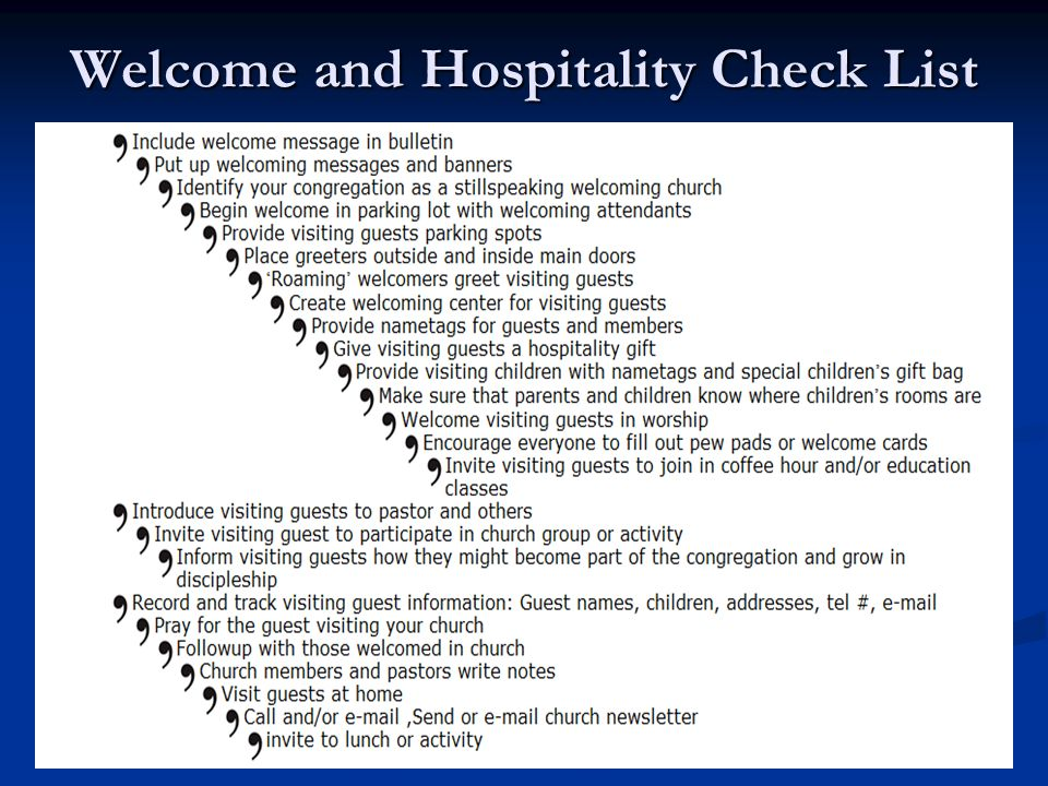 Welcome and Hospitality Check List
