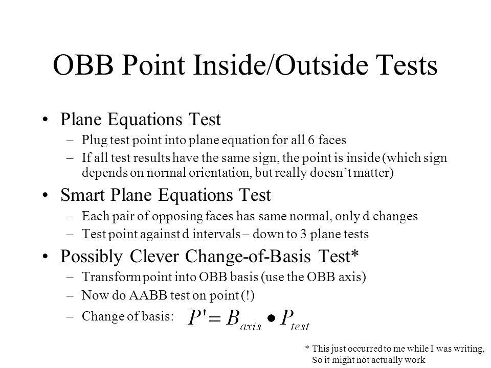 OBB Point Inside/Outside Tests