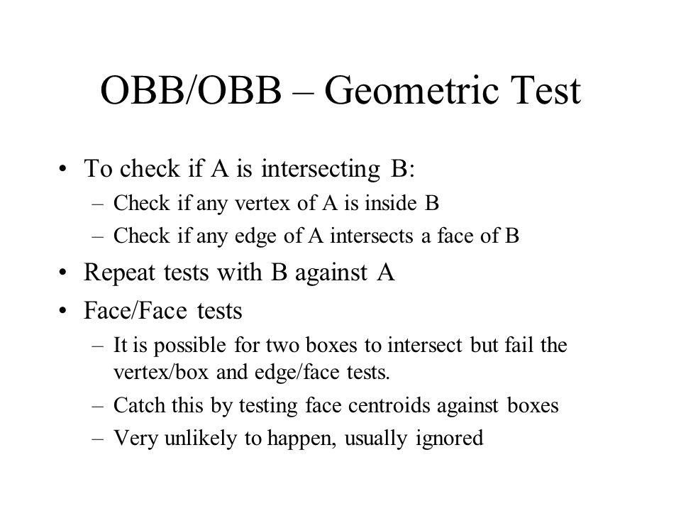 OBB/OBB – Geometric Test
