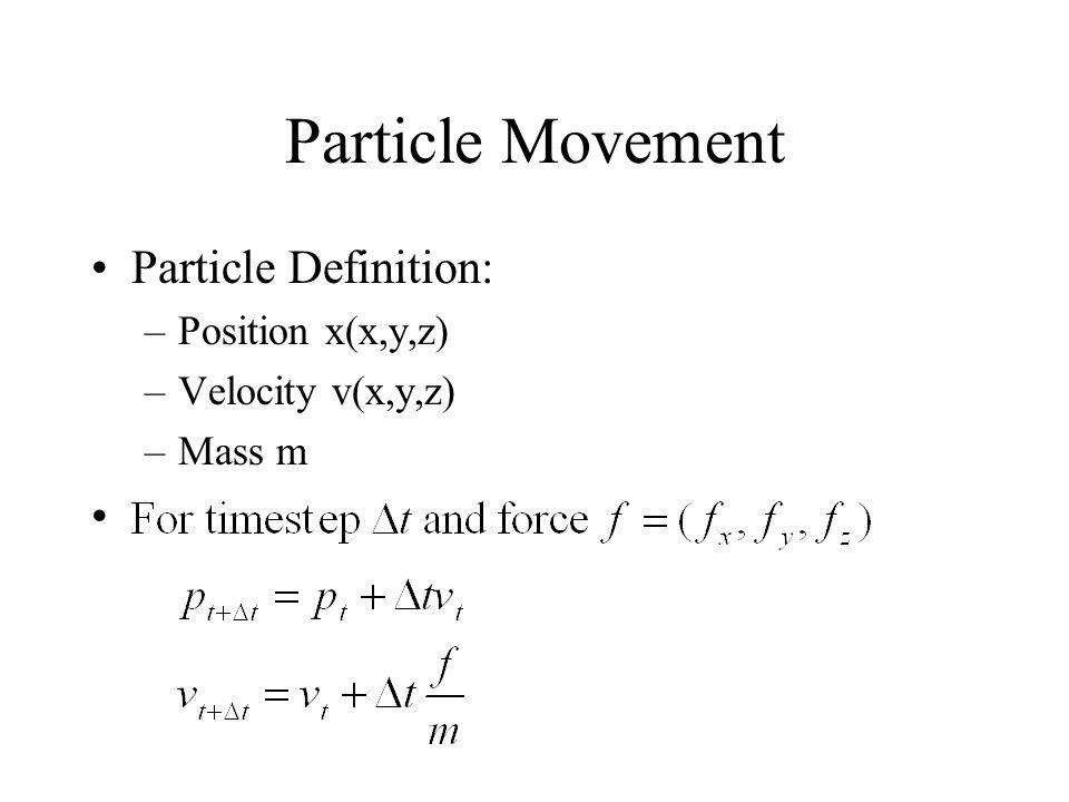 Particle Movement Particle Definition: Position x(x,y,z)