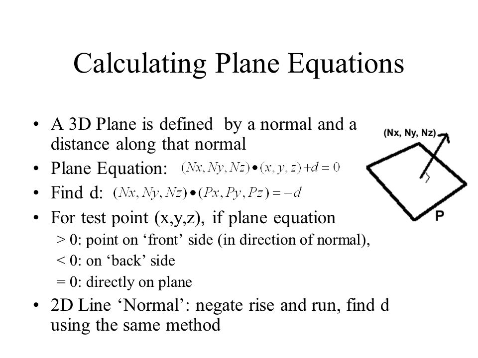 Calculating Plane Equations