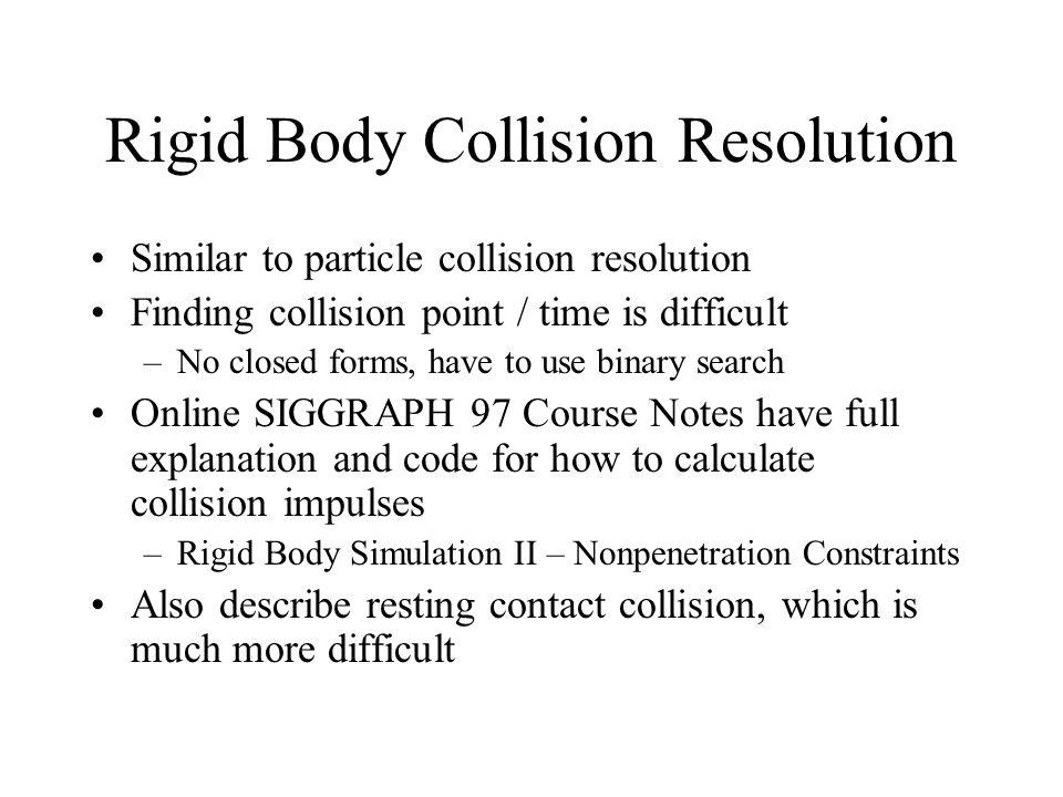 Rigid Body Collision Resolution