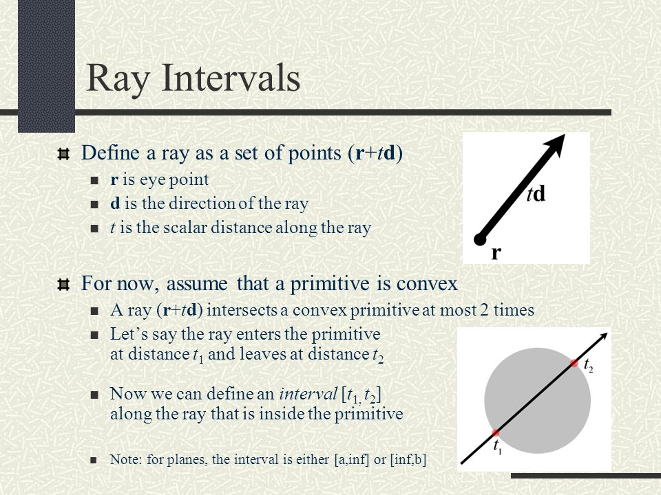 Ray Intervals Define a ray as a set of points (r+td)