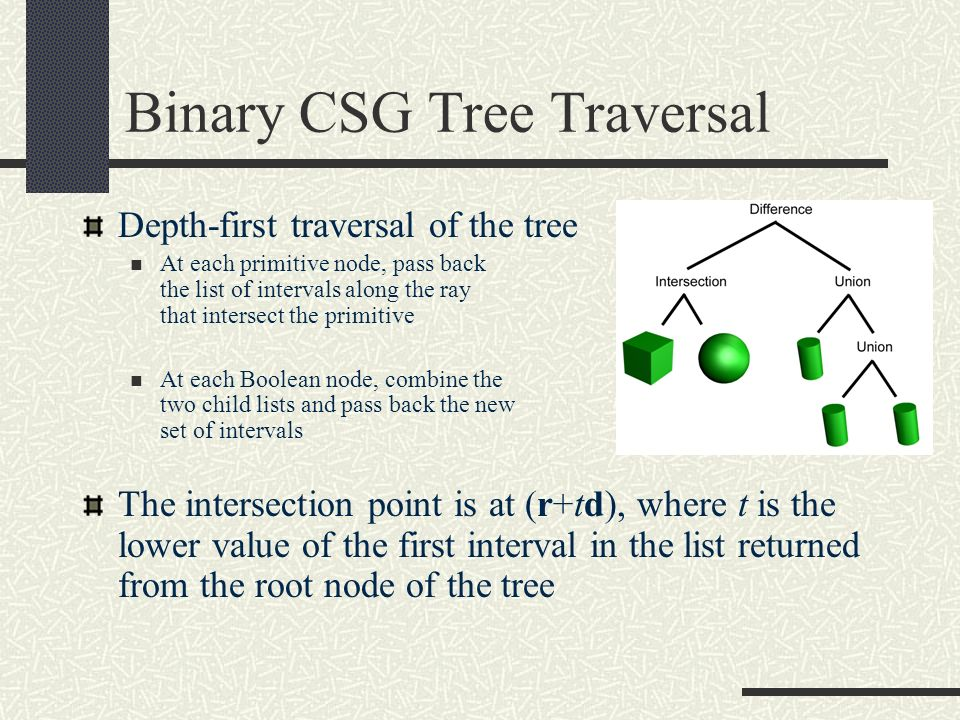 Binary CSG Tree Traversal