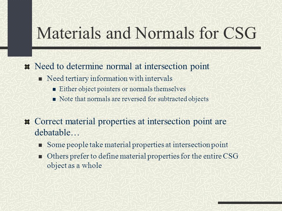 Materials and Normals for CSG