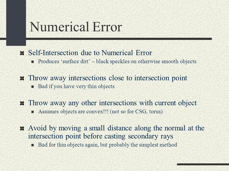 Numerical Error Self-Intersection due to Numerical Error