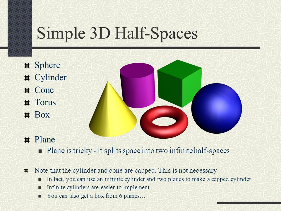 Simple 3D Half-Spaces Sphere Cylinder Cone Torus Box Plane