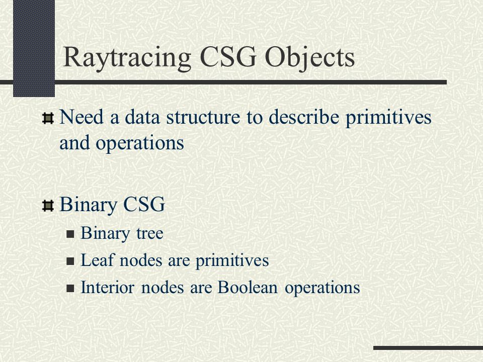 Raytracing CSG Objects