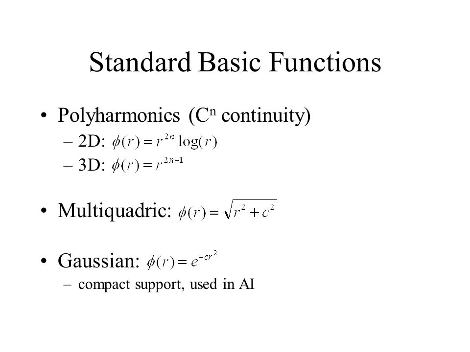 Standard Basic Functions