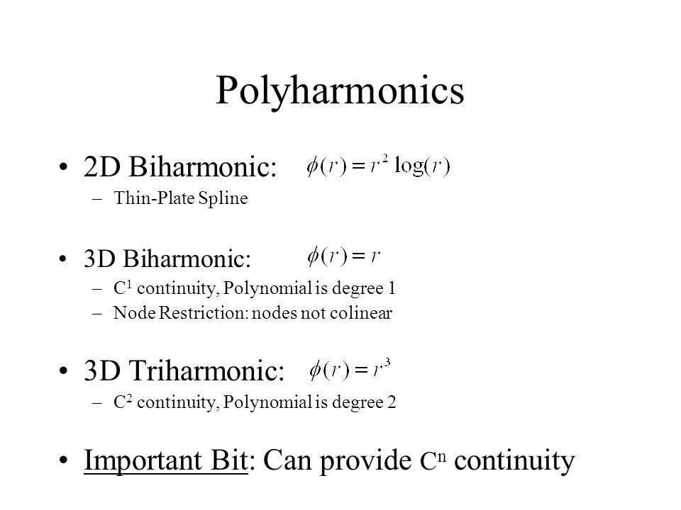 Polyharmonics 2D Biharmonic: 3D Triharmonic: