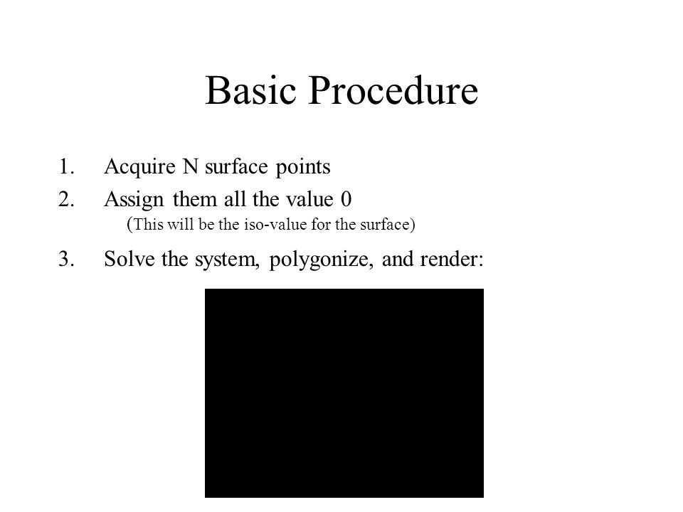 Basic Procedure Acquire N surface points