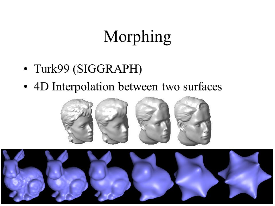 Morphing Turk99 (SIGGRAPH) 4D Interpolation between two surfaces