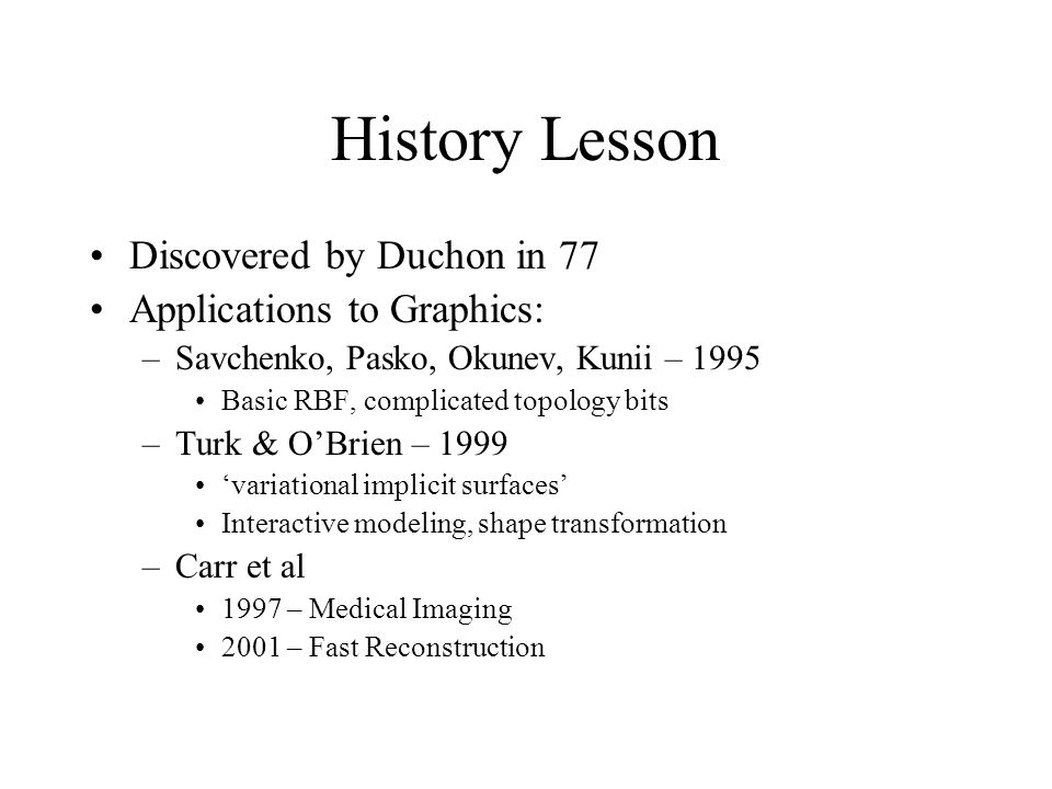 History Lesson Discovered by Duchon in 77 Applications to Graphics: