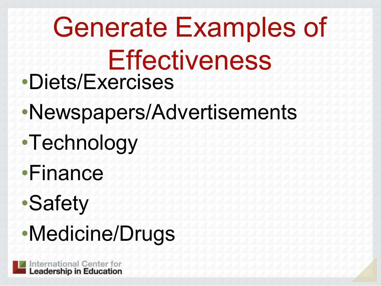 Generate Examples of Effectiveness