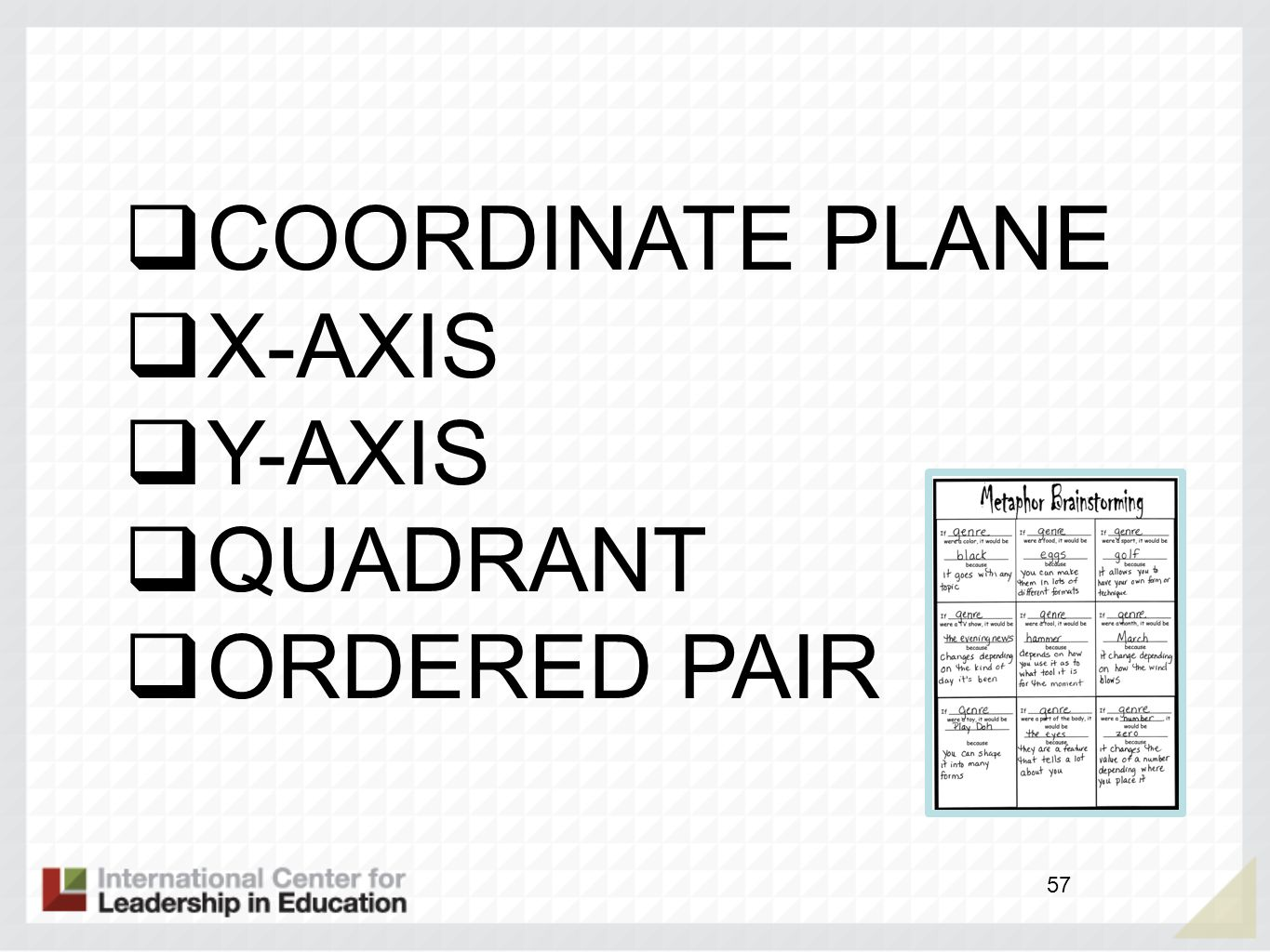COORDINATE PLANE X-AXIS Y-AXIS QUADRANT ORDERED PAIR