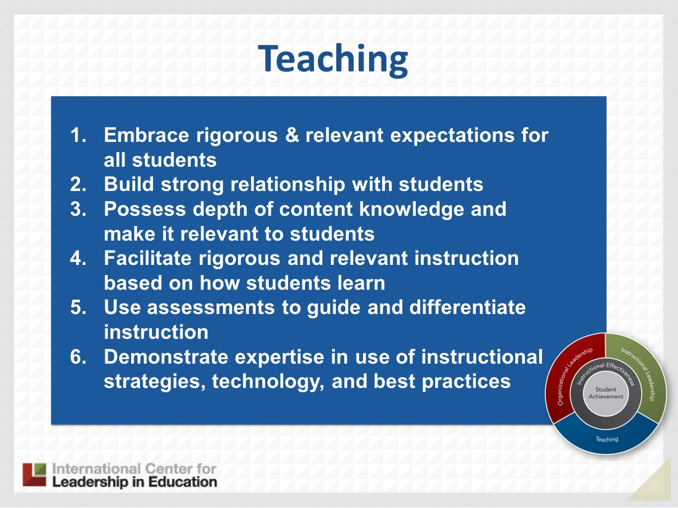 Teaching Embrace rigorous & relevant expectations for all students