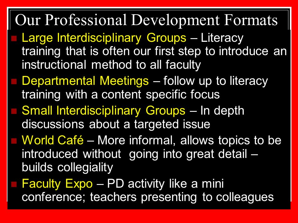 Our Professional Development Formats