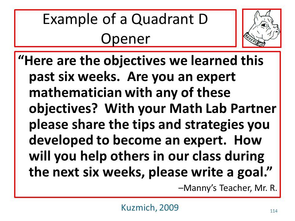 Example of a Quadrant D Opener