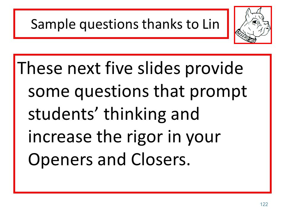 Sample questions thanks to Lin