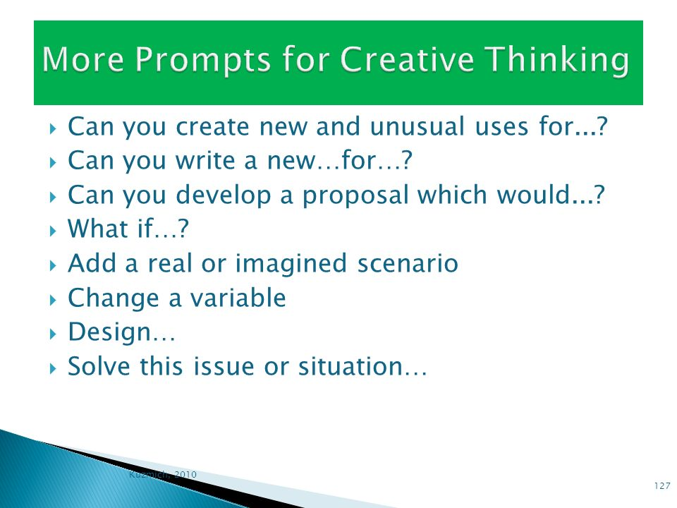 More Prompts for Creative Thinking