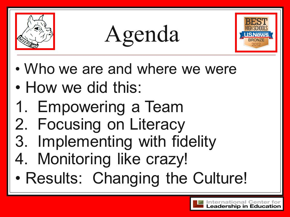 Agenda How we did this: 1. Empowering a Team 2. Focusing on Literacy