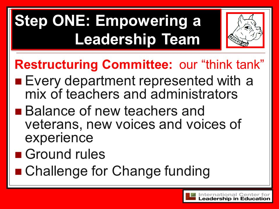 Step ONE: Empowering a Leadership Team