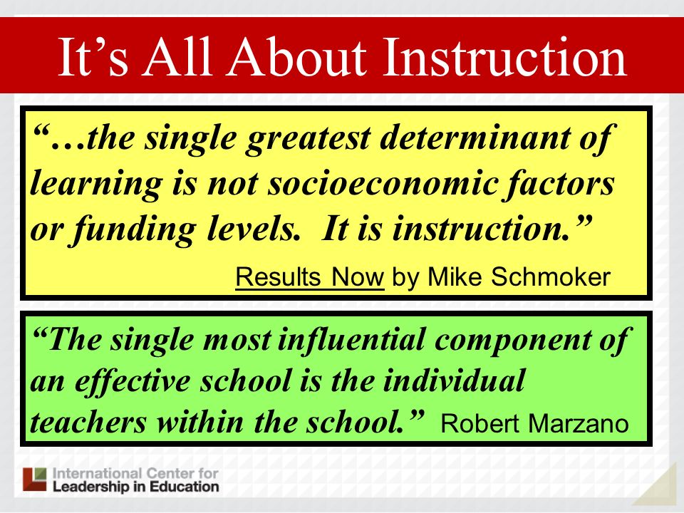 It's All About Instruction