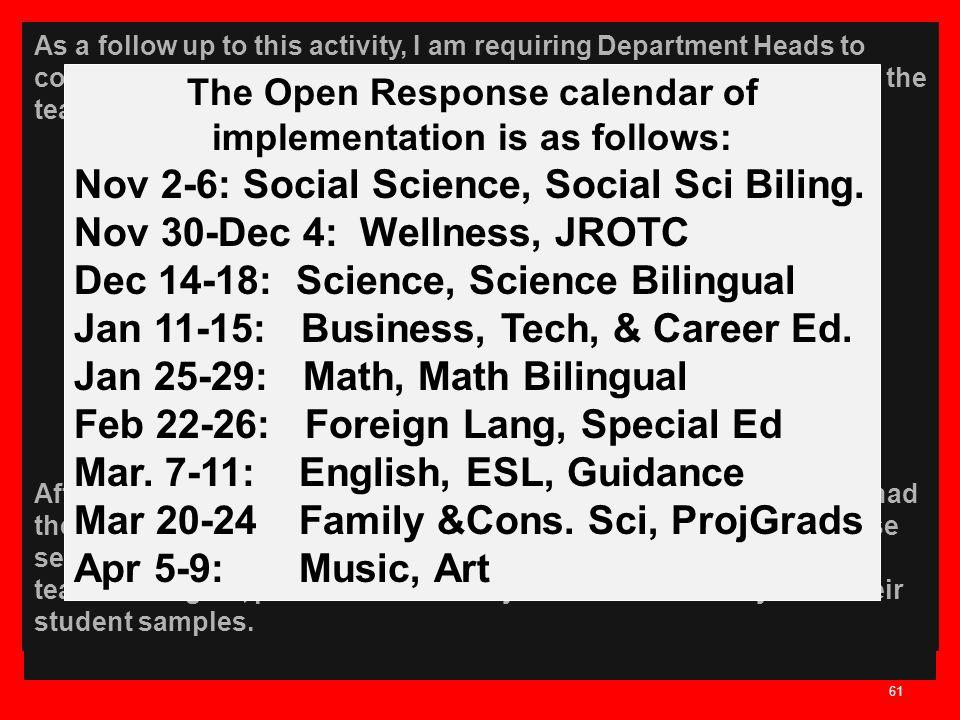 The Open Response calendar of implementation is as follows: