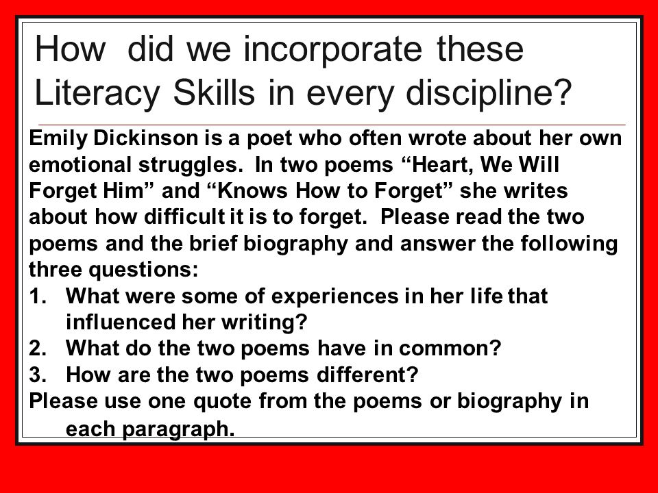 How did we incorporate these Literacy Skills in every discipline