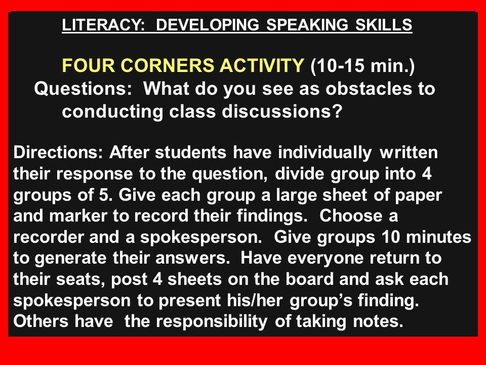 FOUR CORNERS ACTIVITY (10-15 min.)