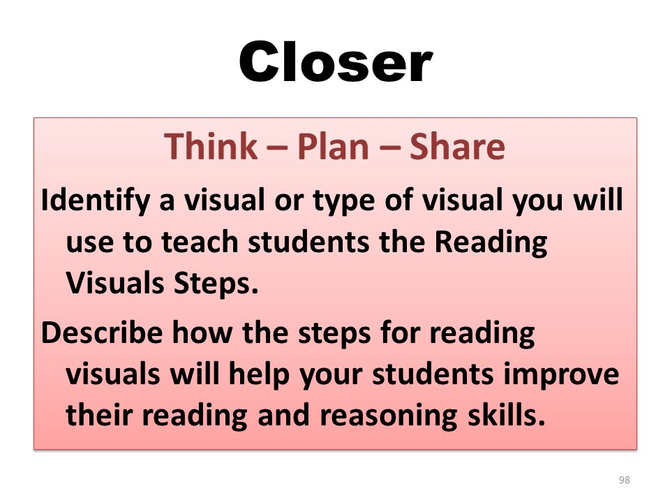 Closer Think – Plan – Share