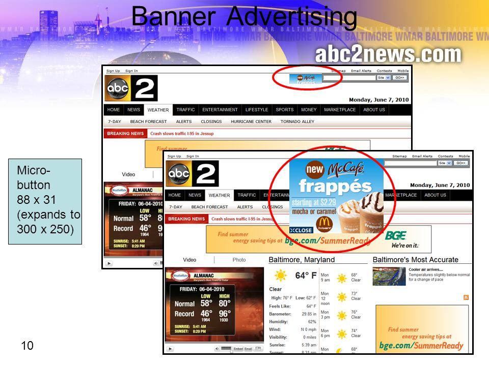 Banner Advertising Micro- button 88 x 31 (expands to 300 x 250) 10 10