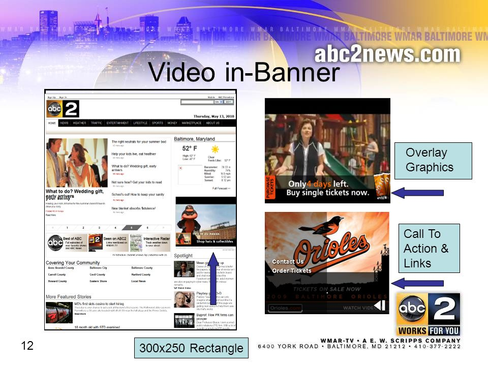 Video in-Banner Overlay Graphics Call To Action & Links 12