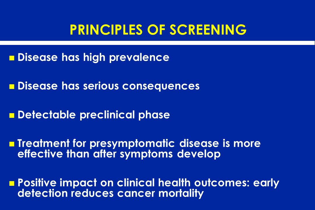 PRINCIPLES OF SCREENING