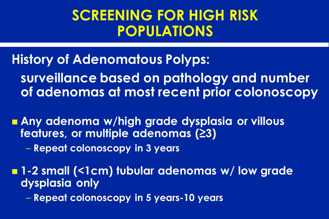 SCREENING FOR HIGH RISK POPULATIONS
