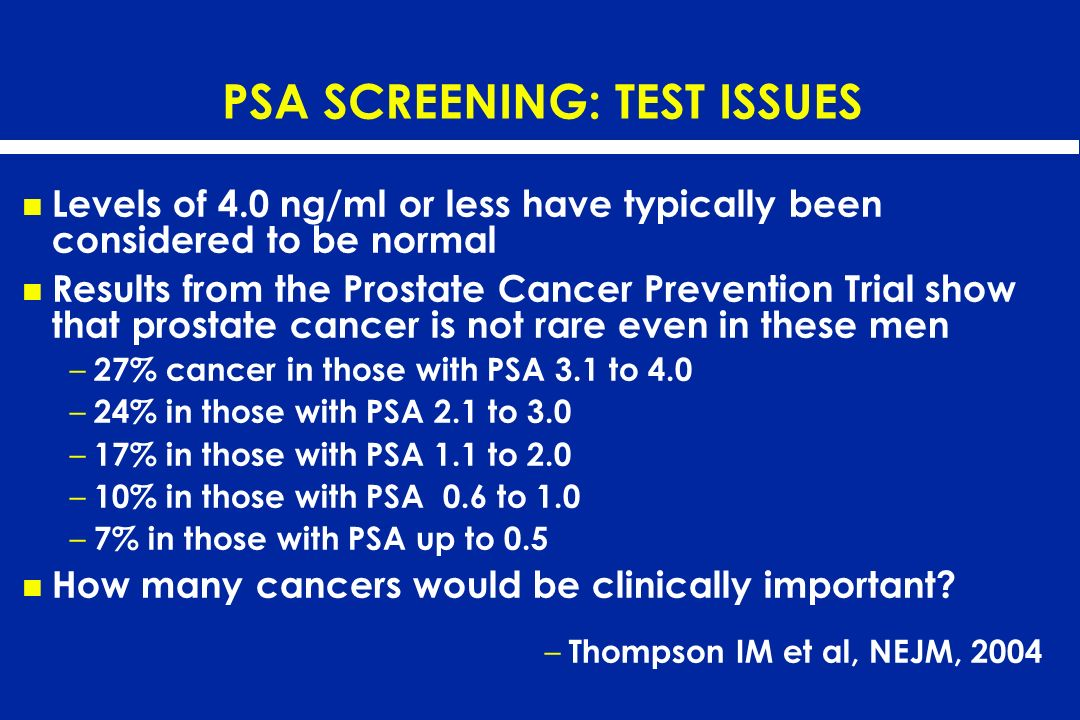 PSA SCREENING: TEST ISSUES