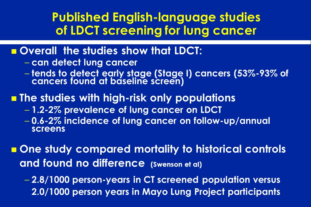 Published English-language studies of LDCT screening for lung cancer